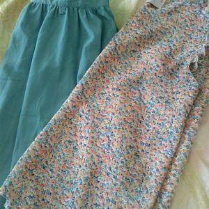 Teal silk-like circle skirt with belt loops